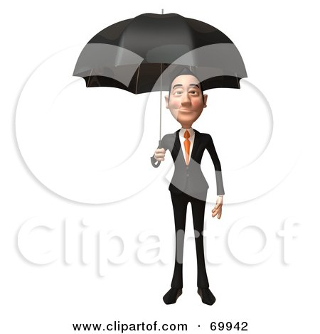 Royalty-Free (RF) Clipart Illustration of a 3d Asian Businessman Character Holding An Umbrella by Julos