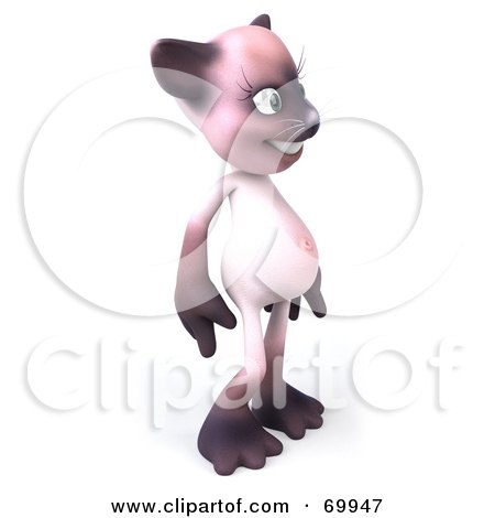 Royalty-Free (RF) Clipart Illustration of a 3d Pink Kitty Character Standing and Facing Right by Julos