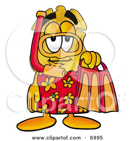 Clipart Picture of a Badge Mascot Cartoon Character in Red and Orange Snorkel Gear by Toons4Biz