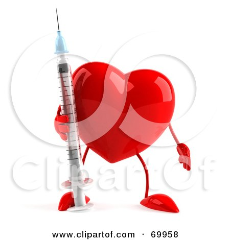 Royalty-Free (RF) Clipart Illustration of a 3d Red Heart Character Holding a Syringe by Julos