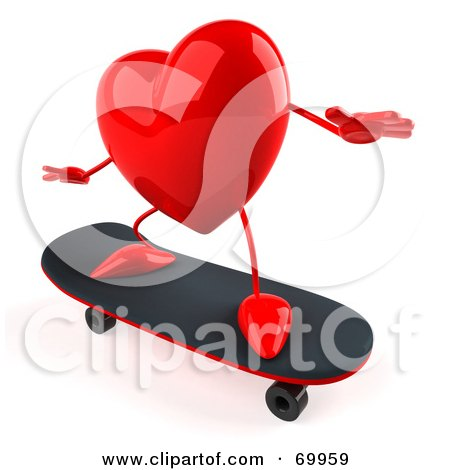 Royalty-Free (RF) Clipart Illustration of a 3d Red Heart Character Skateboarding by Julos