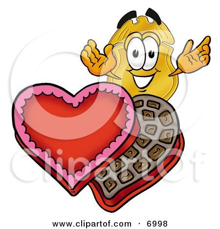 Clipart Picture of a Badge Mascot Cartoon Character With an Open Box of Valentines Day Chocolate Candies by Toons4Biz