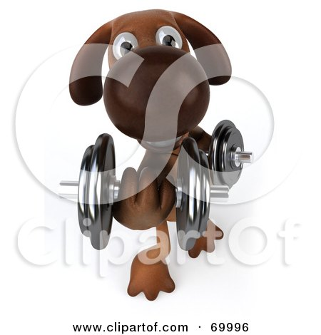 Royalty-Free (RF) Clipart Illustration of a 3d Brown Pooch Character Lifting Weights - Pose 3 by Julos