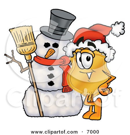 Clipart Picture of a Badge Mascot Cartoon Character With a Snowman on Christmas by Toons4Biz