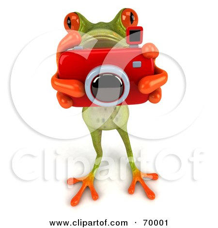Royalty-Free (RF) Clipart Illustration of a 3d Green Tree Frog Taking Pictures - Pose 1 by Julos