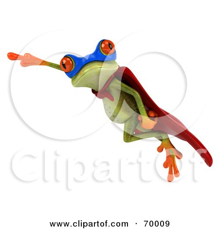 Royalty-Free (RF) Clipart Illustration of a 3d Green Tree Frog Super Hero - Pose 9 by Julos