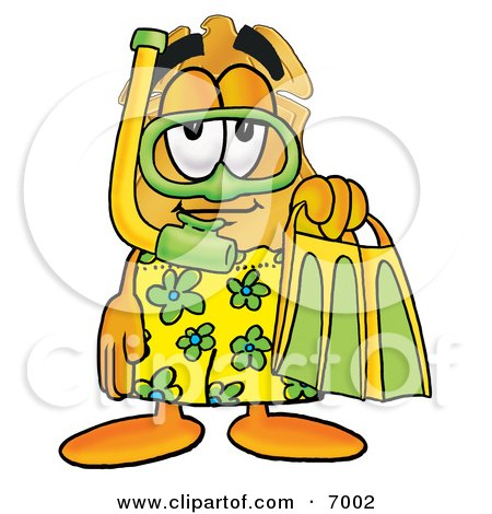 Clipart Picture of a Badge Mascot Cartoon Character in Green and Yellow Snorkel Gear by Toons4Biz
