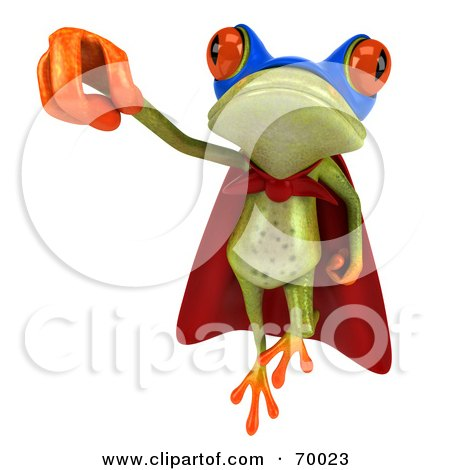 Royalty-Free (RF) Clipart Illustration of a 3d Green Tree Frog Super Hero - Pose 7 by Julos