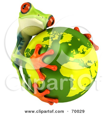 Royalty-Free (RF) Clipart Illustration of a 3d Green Poison Dart Frog Hugging The Earth by Julos