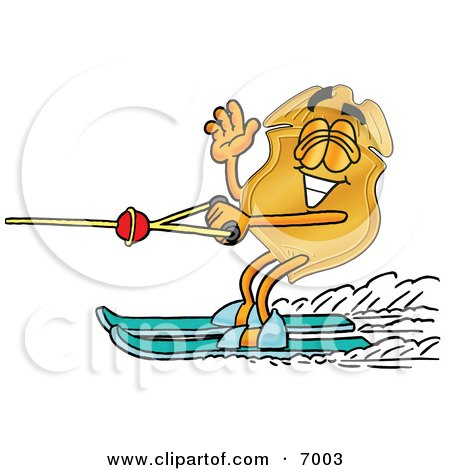 Clipart Picture of a Badge Mascot Cartoon Character Waving While Water Skiing by Toons4Biz