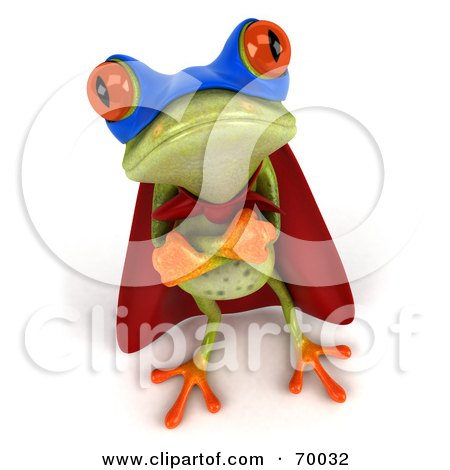 Royalty-Free (RF) Clipart Illustration of a 3d Green Tree Frog Super Hero - Pose 5 by Julos