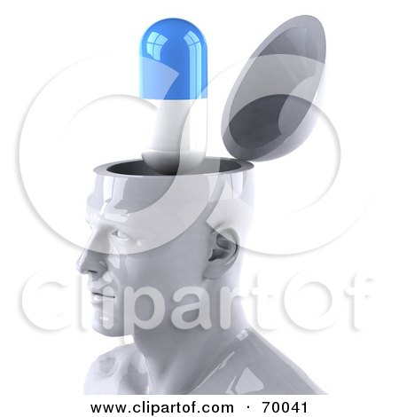 3d White Male Head Character With A Pill Capsule Posters, Art Prints