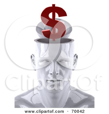 3d White Male Head Character With A Red Dollar Symbol Posters, Art Prints