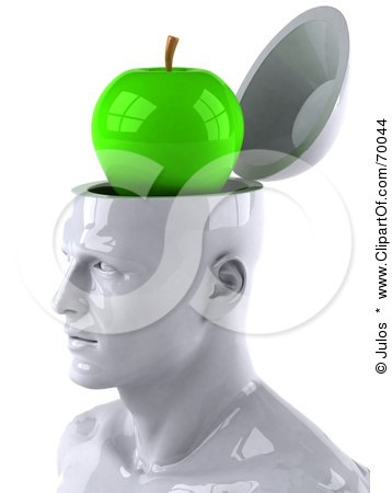 3d White Male Head Character With A Green Granny Smith Apple Posters, Art Prints