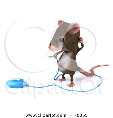 Royalty-Free (RF) Clipart Illustration of a 3d Mouse Character Holding a Blue Computer Mouse by Julos