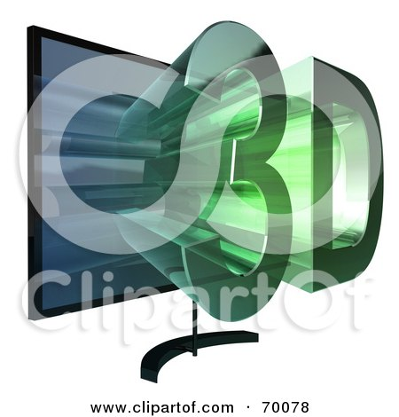 Royalty-Free (RF) Clipart Illustration of a Flat Screen Plasma Television With 3d Emerging From The Screen - Version 3 by Julos