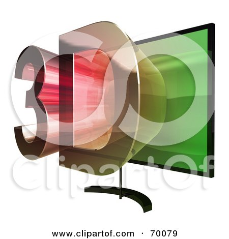 Royalty-Free (RF) Clipart Illustration of a Flat Screen Plasma Television With 3d Emerging From The Screen - Version 4 by Julos