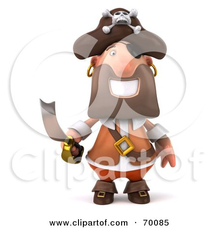Royalty-Free (RF) Clipart Illustration of a 3d Pirate Character Holding a Sword - Pose 1 by Julos