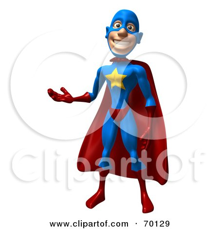 Royalty-Free (RF) Clipart Illustration of a 3d Male Star Superhero Character Presenting by Julos