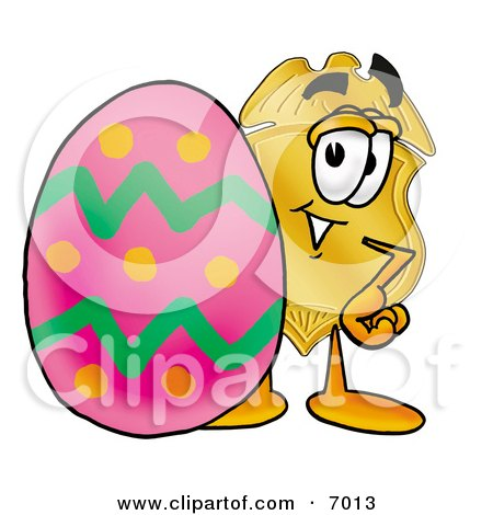 Clipart Picture of a Badge Mascot Cartoon Character Standing Beside an Easter Egg by Toons4Biz