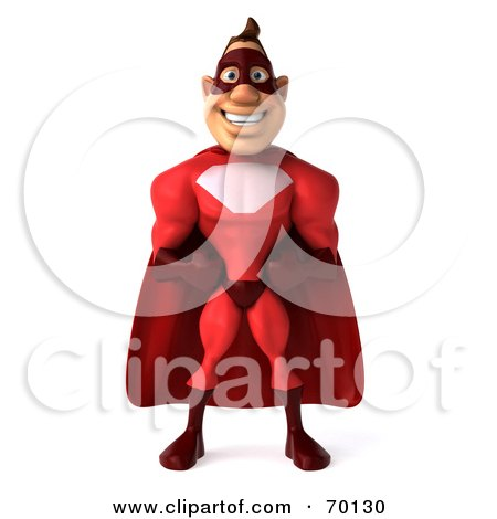 Royalty-Free (RF) Clipart Illustration of a 3d Red Super Hero Guy Standing - Pose 1 by Julos