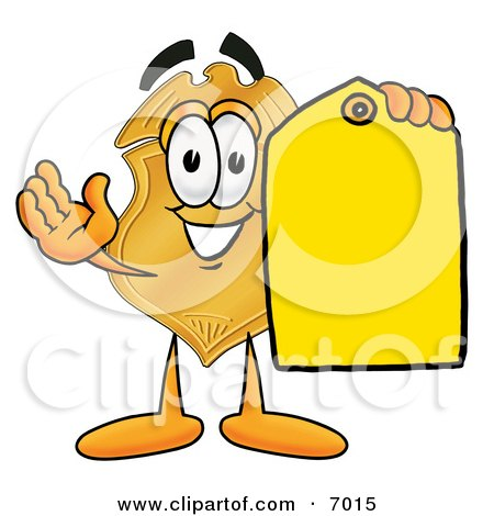 Clipart Picture of a Badge Mascot Cartoon Character Holding a Blank Yellow Price Tag For a Sale by Toons4Biz
