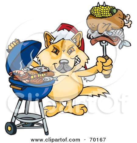 Royalty-Free (RF) Clipart Illustration of a Grilling Dingo Wearing A Santa Hat And Holding Food On A BBQ Fork by Dennis Holmes Designs