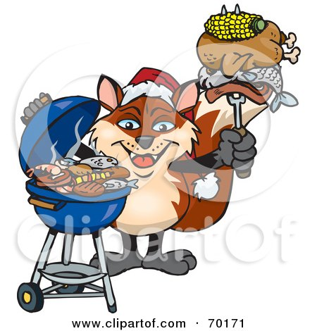 Royalty-Free (RF) Clipart Illustration of a Grilling Fox Wearing A Santa Hat And Holding Food On A BBQ Fork by Dennis Holmes Designs