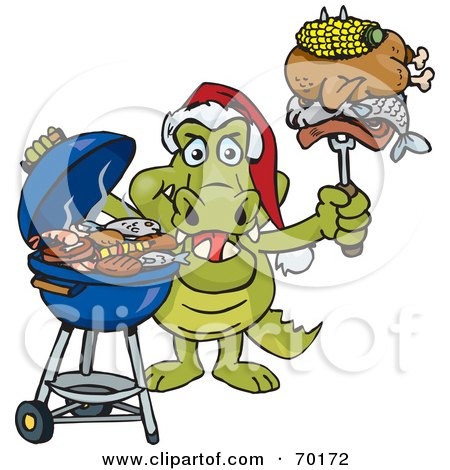 Royalty-Free (RF) Clipart Illustration of a Grilling Crocodile Wearing A Santa Hat And Holding Food On A BBQ Fork by Dennis Holmes Designs