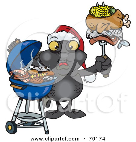Royalty-Free (RF) Clipart Illustration of a Grilling Blackmoor Fish Wearing A Santa Hat And Holding Food On A BBQ Fork by Dennis Holmes Designs