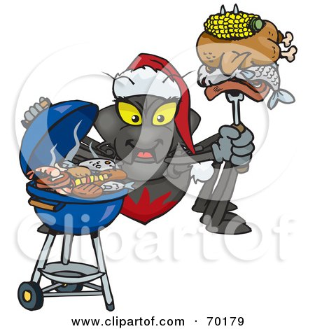 Royalty-Free (RF) Clipart Illustration of a Grilling Spider Wearing A Santa Hat And Holding Food On A BBQ Fork by Dennis Holmes Designs