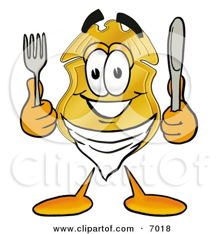 Clipart Picture of a Badge Mascot Cartoon Character Holding a Knife and Fork by Toons4Biz