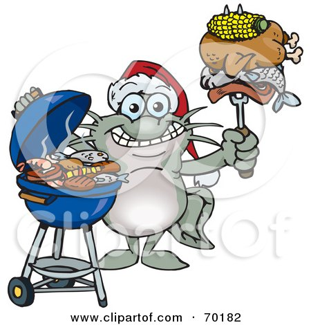 Royalty-Free (RF) Clipart Illustration of a Grilling Catfish Wearing A Santa Hat And Holding Food On A BBQ Fork by Dennis Holmes Designs