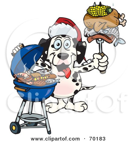 Royalty-Free (RF) Clipart Illustration of a Grilling Dalmatian Wearing A Santa Hat And Holding Food On A BBQ Fork by Dennis Holmes Designs
