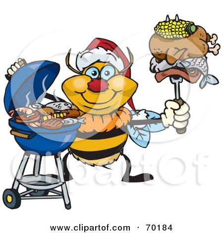 Royalty-Free (RF) Clipart Illustration of a Grilling Bumble Bee Wearing A Santa Hat And Holding Food On A BBQ Fork by Dennis Holmes Designs