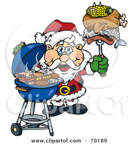Royalty-Free (RF) Clipart Illustration of a Grilling Santa Wearing A Santa Hat And Holding Food On A BBQ Fork by Dennis Holmes Designs