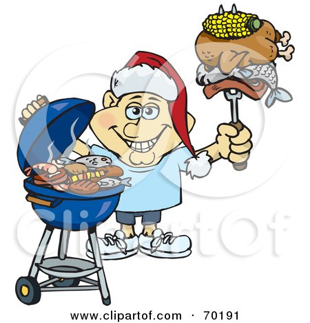 Royalty-Free (RF) Clipart Illustration of a Grilling Man Wearing A Santa Hat And Holding Food On A BBQ Fork - Version 2 by Dennis Holmes Designs