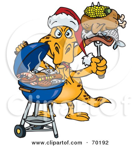 Royalty-Free (RF) Clipart Illustration of a Grilling Goanna Lizard Wearing A Santa Hat And Holding Food On A BBQ Fork by Dennis Holmes Designs