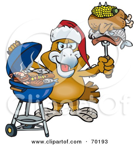 Royalty-Free (RF) Clipart Illustration of a Grilling Eagle Wearing A Santa Hat And Holding Food On A BBQ Fork by Dennis Holmes Designs