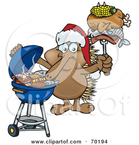 Royalty-Free (RF) Clipart Illustration of a Grilling Echidna Wearing A Santa Hat And Holding Food On A BBQ Fork by Dennis Holmes Designs