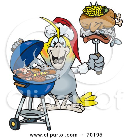 Royalty-Free (RF) Clipart Illustration of a Grilling Cockatiel Wearing A Santa Hat And Holding Food On A BBQ Fork by Dennis Holmes Designs