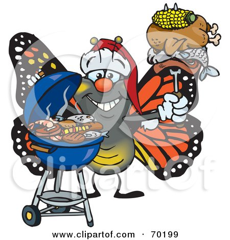 Royalty-Free (RF) Clipart Illustration of a Grilling Monarch Butterfly Wearing A Santa Hat And Holding Food On A BBQ Fork by Dennis Holmes Designs