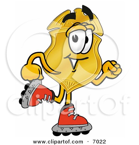 Clipart Picture of a Badge Mascot Cartoon Character Roller Blading on Inline Skates by Toons4Biz