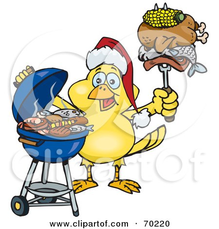Royalty-Free (RF) Clipart Illustration of a Grilling Canary Wearing A Santa Hat And Holding Food On A BBQ Fork by Dennis Holmes Designs