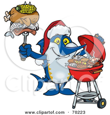 Royalty-Free (RF) Clipart Illustration of a Grilling Marlin Wearing A Santa Hat And Holding Food On A BBQ Fork by Dennis Holmes Designs