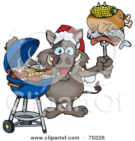 Royalty-Free (RF) Clipart Illustration of a Grilling Boar Wearing A Santa Hat And Holding Food On A BBQ Fork by Dennis Holmes Designs