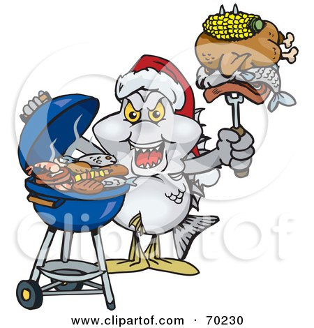 Royalty-Free (RF) Clipart Illustration of a Grilling Bream Fish Wearing A Santa Hat And Holding Food On A BBQ Fork by Dennis Holmes Designs