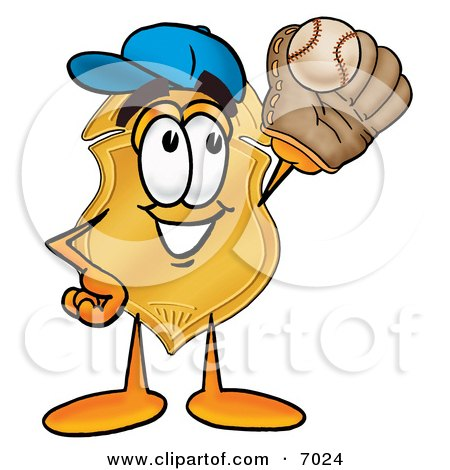 Clipart Picture of a Badge Mascot Cartoon Character Catching a Baseball With a Glove by Toons4Biz