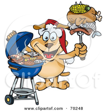Royalty-Free (RF) Clipart Illustration of a Grilling Sparkey Dog Wearing A Santa Hat And Holding Food On A BBQ Fork by Dennis Holmes Designs