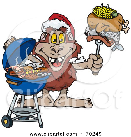 Royalty-Free (RF) Clipart Illustration of a Grilling Yowie Wearing A Santa Hat And Holding Food On A BBQ Fork by Dennis Holmes Designs